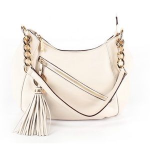 EUC Michael Kors Ivory Hobo Bag With Gold Chain
